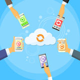 Smart Cell Phone Cloud Data Share Online Internet. Storage Synchronize Flat Vector Illustration Stock Image