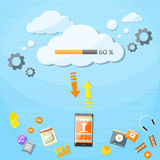 Smart Cell Phone Cloud Upload Online Internet Data Stock Image