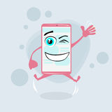Smart Cell Phone Pink Cartoon Character Jump Hands Stock Images