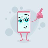Smart Cell Phone Pink Cartoon Character Point Royalty Free Stock Photography