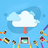 Smart Cell Phone Tablet Cloud Synchronize Upload Royalty Free Stock Photos
