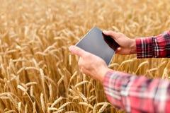 Smart che coltiva facendo uso delle tecnologie moderne nell'agricoltura Equipaggi l'agricoltore dell'agronomo con il computer dig Immagini Stock Libere da Diritti