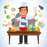 Smart chef character cooking behind kitchen table with various o Royalty Free Stock Photos
