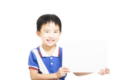 Smart child holding white paper Royalty Free Stock Images