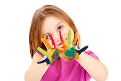 Smart child playing with colors Stock Photography