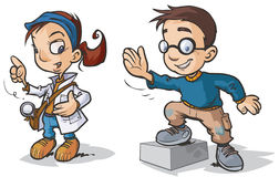 Smart Children Cartoon characters. Stock Photos