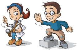 Smart Children Cartoon characters. Stock Photos