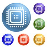 Smart chip icons set vector stock illustration