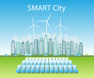 Smart cities consume alternative natural energy sources. Vector illustration a city using alternative clean natural energy sources: wind energy, and solar energy royalty free illustration