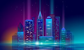 Free Smart City 3D Neon Glowing Cityscape. Intelligent Building Automation Night Futuristic Business Concept. Web Online Royalty Free Stock Image - 126111816