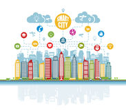 Smart city with advanced intelligent services, and augmented reality, social networks, Internet of things, icons