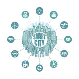 Smart city with advanced smart services, social networking, the Internet of things, circuit board Royalty Free Stock Photos