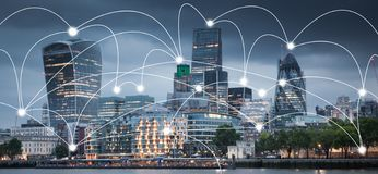Smart City And Connection Lines. Internet Concept Of Global Business, London, UK Stock Photo