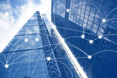 Free Smart City And Connection Lines. Internet Concept Of Global Business, Skyscrapers Royalty Free Stock Image - 137582426
