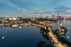 Free Smart City And Wireless Communication Network Concept. Digital Network Connection Lines Of Hanoi City At West Lake Or Ho Tay Stock Photography - 162177072