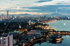 Free Smart City And Wireless Communication Network Concept. Digital Network Connection Lines Of Hanoi City At West Lake Or Ho Tay Royalty Free Stock Images - 162177219