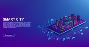 Smart city automation from smartphone. Concept of building management system, technology of iot. City is standing on mobile phone. With home control icons stock illustration