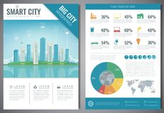 Smart city brochure with infographic elements. Template of magazine, poster, book cover, banner, flyer. Big city life Royalty Free Stock Photography