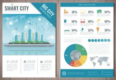 Smart city brochure with infographic elements. Template of magazine, poster, book cover, banner, flyer. Big city life Royalty Free Stock Photo