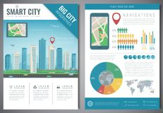 Smart city brochure with infographic elements. Template of magazine, poster, book cover, banner, flyer. City navigation Stock Photos