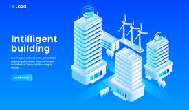 Smart city building concept background, isometric style stock illustration