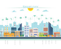 Smart city. With building and icon Royalty Free Stock Photography