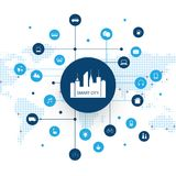 Smart City, Cloud Computing Design Concept with Icons - Digital Network Connections, Technology Background with Network Mesh. Abstract Colorful Cloud Computing Stock Image