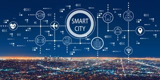 Smart city concept with downtown Los Angeles. At night royalty free illustration