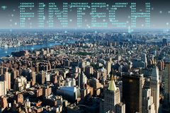 The smart city concept with fintech financial technology concept Stock Image