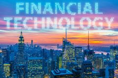 The smart city concept with fintech financial technology concept Royalty Free Stock Photos