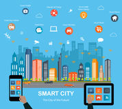 Smart city concept and internet of things. Smart city concept with different icon and elements. Modern city design with  future technology for living Royalty Free Stock Photos