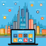 Smart city concept and internet of things Royalty Free Stock Images