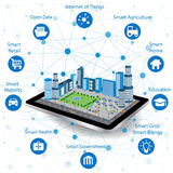 Smart city concept and internet of things. Smart city concept with different icon and elements. Modern city design with future technology for living Stock Images