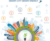 Smart city concept and Smart energy. Ecological city concept.Smart city concept and Smart energy with different environmental icons.Smart city concept/ Smart Royalty Free Stock Images