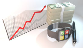 Smart city concept by smart watch with 100 dollar bill and chart. 3 Dimensional Graphics rendering 100 dollar bill stack with smart watch about Financial Stock Photography