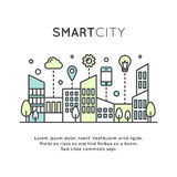 Smart City Concept and Technology,. Vector Icon Style Illustration of Smart City Concept and Technology, One Page Web or Mobile Template Composition with Cloud Stock Photography