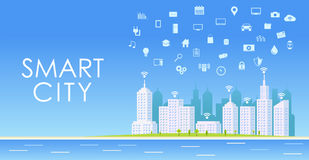 Smart city concept. Urban landscape. Internet of things Royalty Free Stock Image