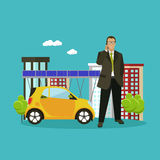 Smart city concept vector illustration in flat style. Businessman talks by smartphone. Stock Images