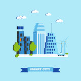 Smart city concept vector illustration in flat style. Modern design with innovation technologies Royalty Free Stock Photo