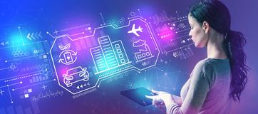 Smart city concept with woman using a tablet stock photos