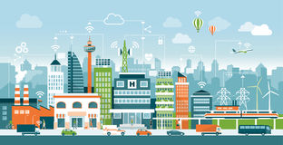Smart city. With contemporary buildings, people and traffic; networks, connection and internet of things icons on top