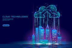 Smart city 3D light cloud computing cityscape. Intelligent building big data exchange storage online futuristic business. Concept future technology. Urban royalty free illustration
