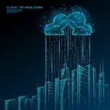 Smart city 3D light cloud computing cityscape. Intelligent building big data exchange storage online futuristic business stock illustration