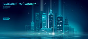 Smart city 3D neon glowing cityscape. Intelligent building automation night futuristic business concept. Web online blue. Color future technology. Urban banner stock illustration