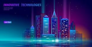 Smart city 3D neon glowing cityscape. Intelligent building automation night futuristic business concept. Web online. Vivid color cyberpunk retrowave. Urban stock illustration