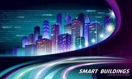 Smart city 3D neon glowing cityscape. Intelligent building automation night futuristic business concept. Web online. Vivid color cyberpunk retrowave. Urban vector illustration