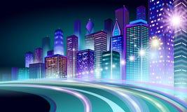 Smart city 3D neon glowing cityscape. Intelligent building highway route night futuristic business concept. Web online. Vivid color cyberpunk retrowave. Urban stock illustration