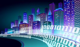 Smart city 3D neon glowing cityscape. Intelligent building highway route night futuristic business concept. Web online. Vivid color cyberpunk retrowave. Urban royalty free illustration