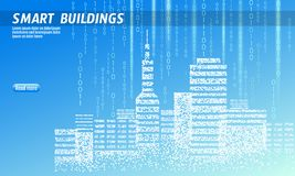Smart city 3D spotted dots. Intelligent building automation system business concept. Web online computer binary code. Architecture urban cityscape technology vector illustration