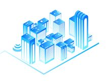 Smart city. 3d urban map with residential isometric buildings. New house technology and augmented reality vector concept Royalty Free Stock Images
